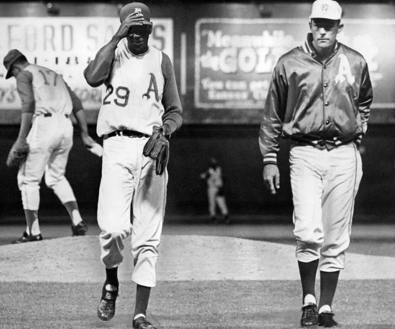 Satchel Paige of the Kansas City A's becomes the oldest