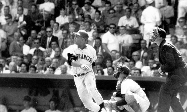 San Francisco Giants outfielder Willie Mays collects the 3,000th hit of his career