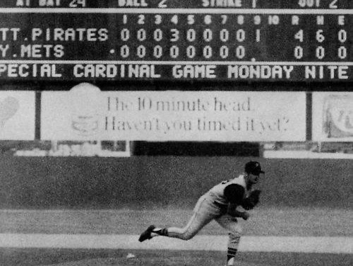 Bob Moose of the Pittsburgh Pirates pitches a 4 – 0 no-hitter against the New York Mets at Shea Stadium.