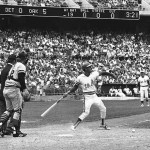 Oakland's Campy Campaneris hurling his bat at Tigers' pitcher Lerrin LaGrow after taking a fastball in the ankle during the 1972 American League playoffs.