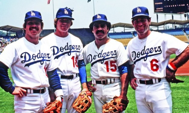 The Los Angeles Dodgers infield of Steve Garvey (1B), Davey Lopes (2B), Ron Cey (3B) and Bill Russell (SS) plays together for the first time in a 16 – 3 loss to the Philadelphia Phillies at Veterans Stadium. The infield quartet will set a major league record for longevity by playing 8 1/2 years together.