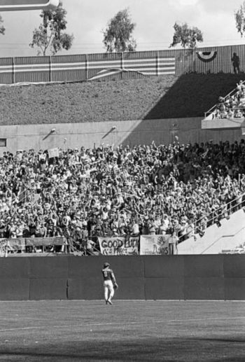 October 21, 1973 - After belting a 2-run homer in the bottom of the 3rd inning of Game 7 of the World Series, Reggie Jackson receives a standing ovation from the fans as he goes out to RF in the top of the 4th.