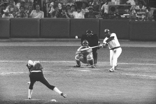 Boston's George Scott connects for a homer off the Pirates' Goose Gossage in the 1977 All-Star Game