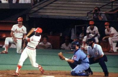 Lou Brock hits a walk off single in extra innings as Cardinals open new Busch Stadium