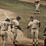Final photo of Thurman from 8/1/1979, congratulating Reggie after a HR against the White Sox at Comsikey Park