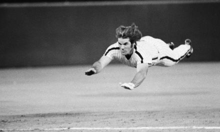 39-year-old Pete Rose steals second base, third, and home in one inning for the Phillies