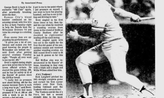 At Milwaukee's County Stadium, George Brett strokes four singles and a double in 5 at-bats as the Royals edge the Brewers, 7 – 6. The Kansas City third baseman's 5 for 5 performance raises his league-leading batting average to .407.