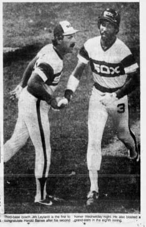 Harold Baines hits three consecutive home runs, including a grand slam, to lead the White Sox over the Tigers, 7 – 0.