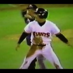 Robby Thompson of the San Francisco Giants sets a major league record when he is caught stealing four times