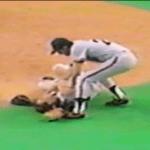 Dave Draveckysuffers a broken vs the Montreal Expos