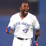 Joe Carter of the Toronto Blue Jays hits a dramatic three-run homer against Mitch Williams of the Philadelphia Phillies to end the World Series