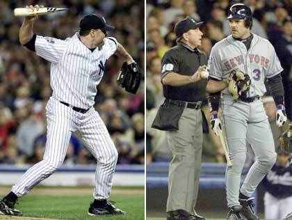 Roger Clemens is fined a reported $50,000 for throwing the jagged barrel of a shattered bat in the direction of Met catcher Mike Piazza in the first inning of Game 2 of the World Series