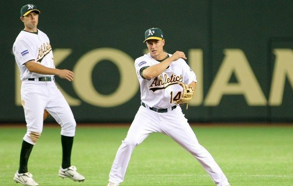 Oakland's Mark Ellis set two franchise records as he helped the A's defeat the Angels 6-2 in Anaheim