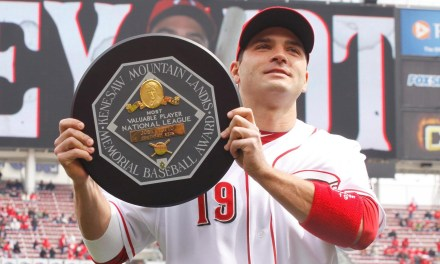 Joey Votto of the Cincinnati Reds wins the 2010 National League Most Valuable Player Award