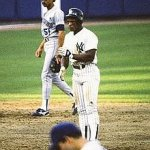 Rickey Henderson of the New York Yankees sets a major league record when he leads off a game with a home run for the 36th time in his career
