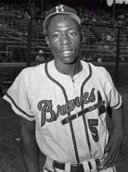 Hank Aaron makes his first spring training start for the Milwaukee Braves
