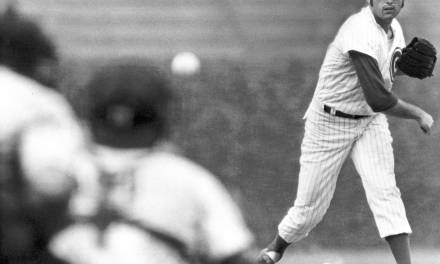 Milt Pappas of the Chicago Cubs pitches a no-hitter against the San Diego Padres and comes within one strike of hurling a perfect game