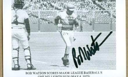 Bob Watson of the Houston Astros scores the one millionth run in major league history. Watson scores the run on Milt May's three-run homer