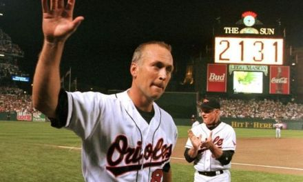 Cal Ripken, Jr. plays in his 1,308th consecutive game to surpass Everett Scott for second place on the all-time list