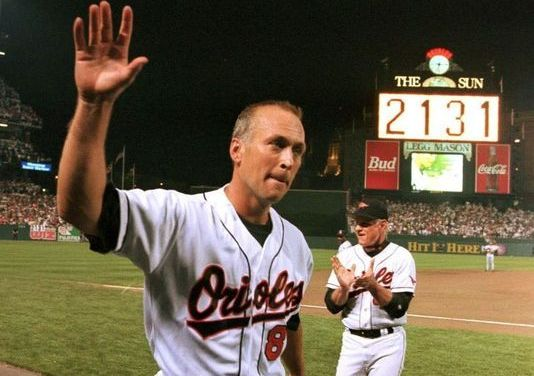 Cal Ripken Jr. of the Baltimore Orioles plays in his 1,000th consecutive game