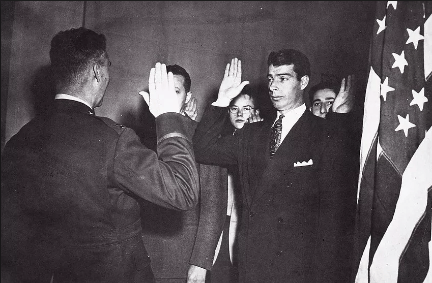Joe DiMaggio of the New York Yankees enlists in the U.S. Army