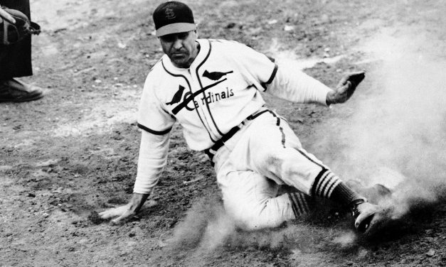 """Enos Slaughter completes his """"Mad Dash"""" toward home plate, helping the St. Louis Cardinals to a 4-3 win over the Boston Red Sox in Game Seven of the World Series"""