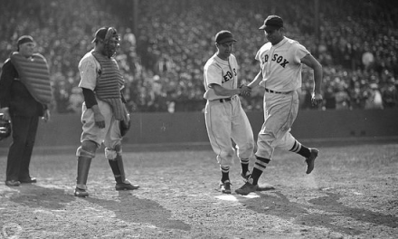 Boston Red Sox slugger Jimmie Foxx hits his 500th home run