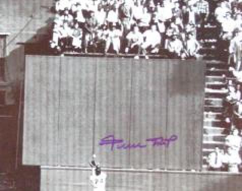Willie Mays making a spectacular over-the-shoulder grab of a ball hit to deep to center field & Dusty Rhodes becomes the second player in World Series history to end a game with a homer