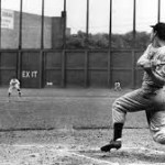 Joe DiMaggio's 56-game hitting streak ends in Cleveland's Municipal Stadium in front of 67,000 fans, July 17, 1941.