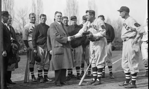 """Babe Ruth is presented with the """"key to the city"""" from Worcester Mayor John Mahoney"""