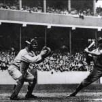 Umpire Hank O'Day, New York Giants catcher Roger Bresnahan and Pittsburgh Pirates batter Honus Wagner, New York's Polo Grounds, September 19, 1908.