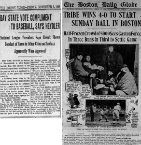 Sunday Baseball Approved in Boston