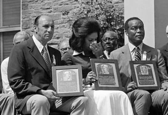 Roberto Clemente and Warren Spahn are inducted into the Hall of Fame
