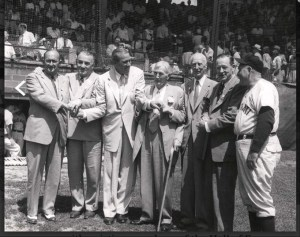 Ty Cobb, Al Simmons, Dizzy Dean, Cy Young. Connie Mack, Big Ed Walsh, and Rogers Hornsby–1953