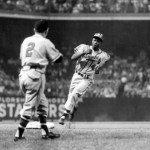 Ebbets Field, July 30, 1956 Henry rounds third after going yard against Dodgers Ken Lehman.