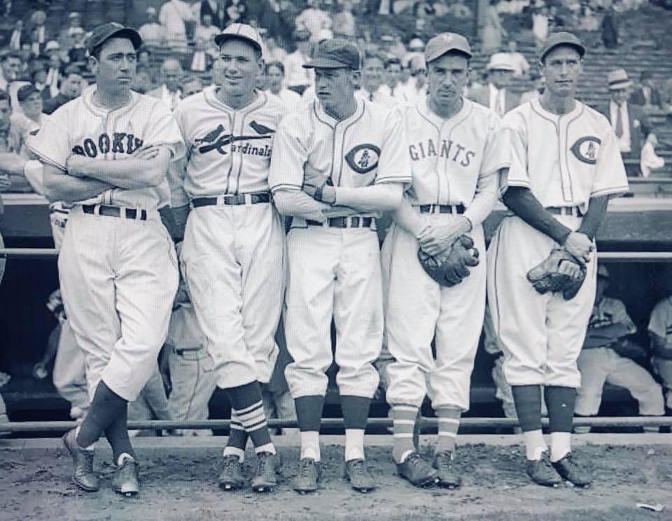 1936 NL All Star pitchers: Van Lingle Mungo, Dizzy Dean, Lon Warneke, Carl Hubbell & Curt Davis.