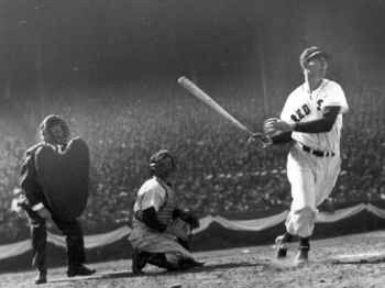 Red Sox outfielder Ted Williams hits career homer 511, tying him with Mel Ott for third on the all-time home run list