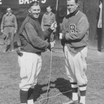 Dick Bartell of the Phillies with Glenn Wright of the Dodgers. Opening day at the Baker Bowl - 1933.