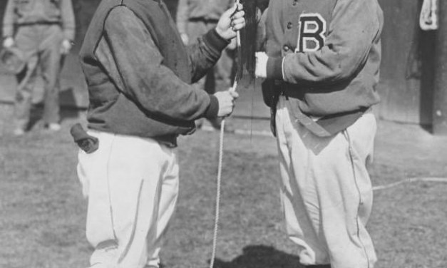Dick Bartell of the Phillies with Glenn Wright of the Dodgers. Opening day at the Baker Bowl – 1933.