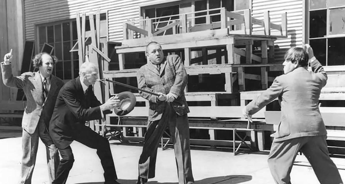 Connie Mack and the Three Stooges in Anaheim, California during spring training – 1942.