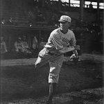"""Redsplayer-managerChristy Mathewson, pitching his only game not in aGiantuniform, beats his long-time nemesisMordecai """"Three Finger"""" Brownand theCubs, 10 - 8. In the 25 contests in which the two legends have faced one another, Matty, by winning the last decision, takes a 13-12 advantage in their final meeting."""