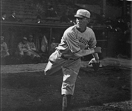 """Redsplayer-managerChristy Mathewson, pitching his only game not in aGiantuniform, beats his long-time nemesisMordecai """"Three Finger"""" Brownand theCubs, 10 – 8. In the 25 contests in which the two legends have faced one another, Matty, by winning the last decision, takes a 13-12 advantage in their final meeting."""
