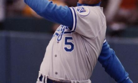 Joining Hall of Famers Willie Mays and Hank Aaron, George Brett becomes only the third player in baseball history to swipe his 200th stolen base as well as collecting 3,000 hits and 300 home runs. The Royals' third baseman's historic heist takes place during a 5-4, 12-inning victory over the Red Sox at Kauffman Stadium.