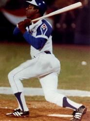 Hank Aaron of the Atlanta Braves hits his 700th career home run