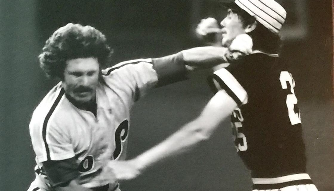 Mike Schmidt charged Bruce Kison after getting hit in the back