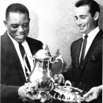 Willie Mays & Sandy Koufax, showing off some hardware won in 1966.