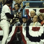 """August 9, 1981 - Reggie Jackson chats with Albert """"Happy"""" Chandler and Bob Hope at the All Star Game."""