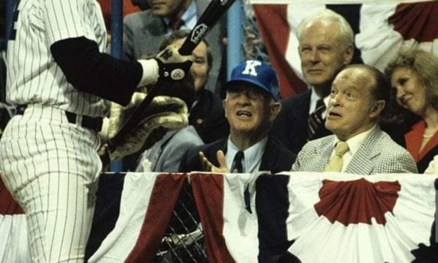 """August 9, 1981 – Reggie Jackson chats with Albert """"Happy"""" Chandler and Bob Hope at the All Star Game."""