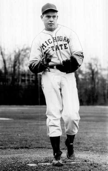 Hall of Fame hurler Robin Roberts pitching for the Michigan State Spartans in 1948