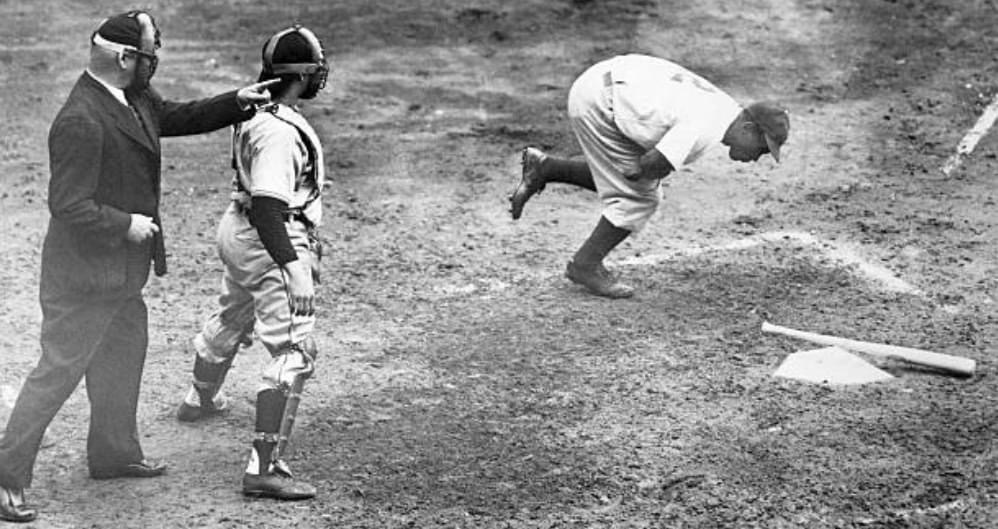 May 17, 1947. Rookie Jackie Robinson gets plunked by a pitch that's way inside - the fourth time he's been hit by a pitch in his first month of major league baseball.